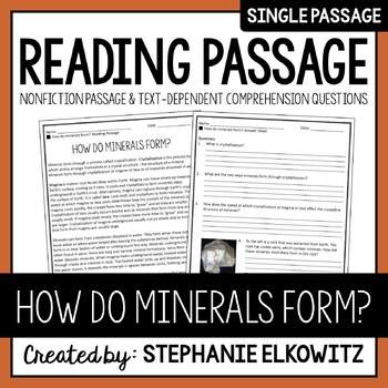 How do minerals form? Reading Passage