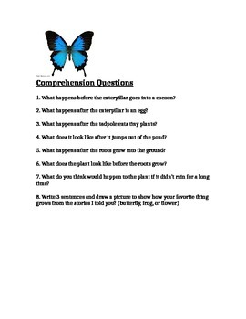 How do they grow? Comprehension & Language Concepts