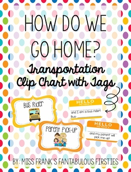 How do we go home? - Transportation Clip Chart with Tags