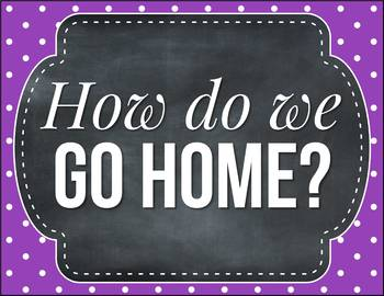 How do we go home EDITABLE, Polka Dot Chalkboard Classroom Decor
