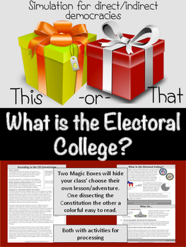 How do we select a President?  (Electoral College, and Election Night tools)