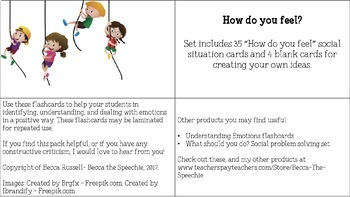 How do you feel? Social situation pragmatic task cards