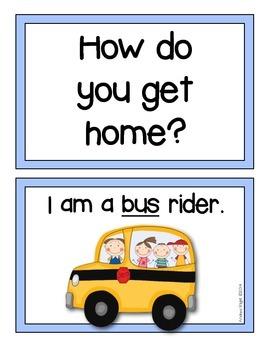 How do you get home?  {Student Transportation Cards}