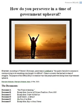 How do you persevere in a time of government upheaval? DBQ/LBQ