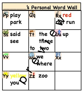 How do you spell?  Personal word wall differentiated.
