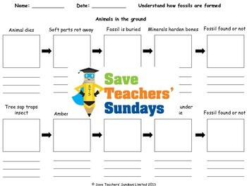 How fossils are formed / Fossil formation Lesson plan and Worksheet
