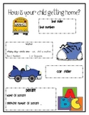 How is Your Child Getting Home?-Back to School Handout