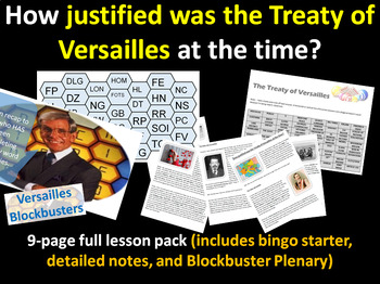 How justified was Versailles? - 9-page full lesson (starter, notes, activity)