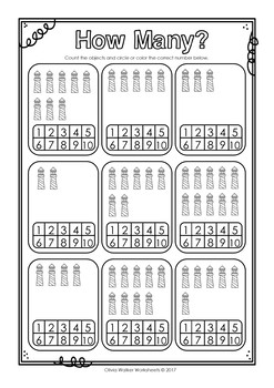 How many? Numbers to 10 (Ten) Count and Color Worksheets / Printables