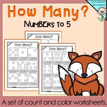 How many? Numbers to 5 (Five) Count and Color Worksheets /