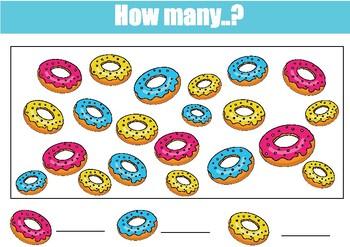 How many? Six mathematics worksheets. Study calculation