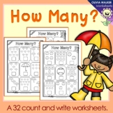 How many? Numbers to 10 (Ten) Count and Write Worksheets / Printables