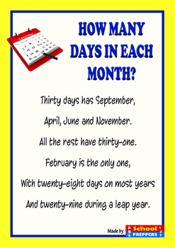How many days in each month? - POEM by School Preppers | TpT