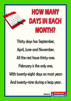 How many days in each month? - POEM
