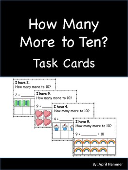 Adding to ten:  Making tens with mini erasers: Math Activity task cards