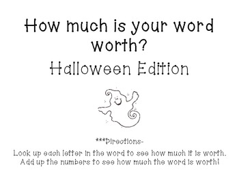 How much is your word worth? Spooky Halloween Edition