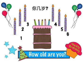How old are you? Birthday visual, English and Chinese ESL, Vipkid, Gogokid