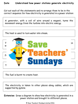How power stations generate electricity Lesson plan and Worksheet