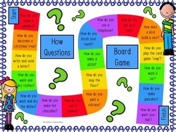How questions- cards, game board and worksheets