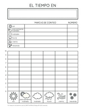 How's the Weather (SPANISH) - Tally Chart, Bar Graph, Journal, and Matching