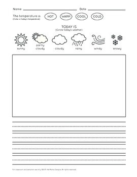 How's the Weather - Tally Chart, Bar Graph, Journal, and Matching