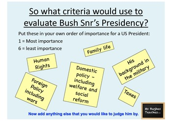 How successful was George Bush Snr. as President - Powerpoint and handout