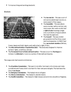 The League of Nations in the 1920s - 8-page full lesson (notes, card sort)