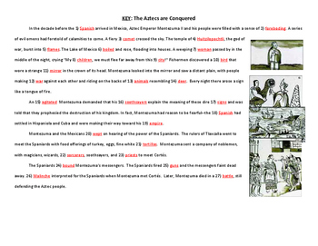 How the Aztecs were Conquered by the Spanish (Fill-in-the-blank Text)