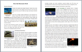 How the Dinosaurs Died - Reading Article - Grade 8 and Up