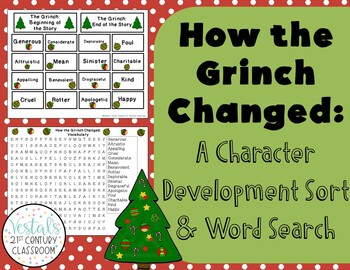 How the Grinch Changed: A Character Development Sort & Word Search