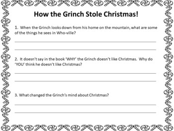 How the Grinch Stole Christmas ~ 32 pgs of Common Core Activities