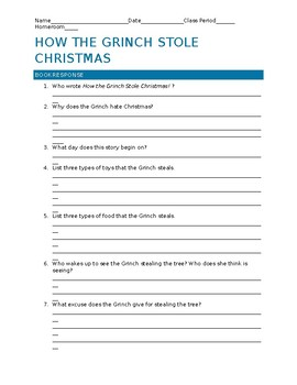 How the Grinch Stole Christmas Book and 1966/2000 Movie Comparison Worksheets