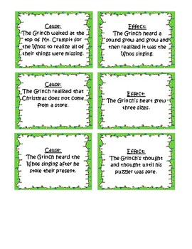 How the Grinch Stole Christmas Cause and Effect Matching Activity