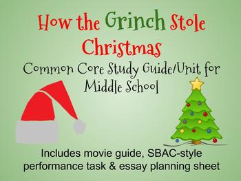 """""""How the Grinch Stole Christmas"""" Common Core Study Guide/U"""