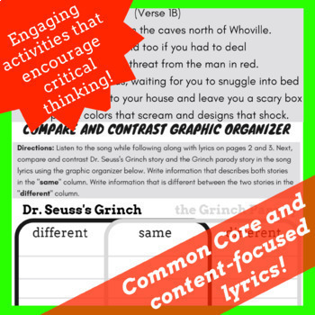Grinch Day Activities with Grinch Reading Comprehension Passage Using Rap Song