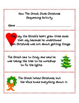 how the grinch stole christmas sequencing - How The Grinch Stole Christmas Activities