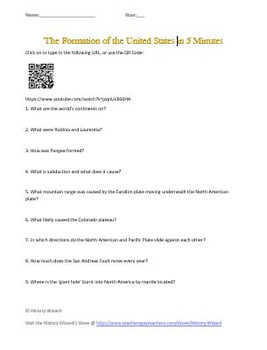 Geography: Plate Tectonics and the United States Five Minute Video Worksheet