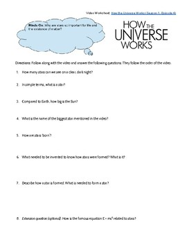 How the Universe Works: Stars (Video Worksheet) by Jessica ...