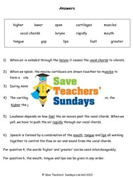 How the human voice is produced Lesson plan and Worksheet