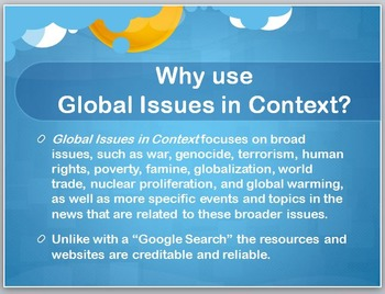 How to Access and Conduct a Database Search (Global Issues in Context)