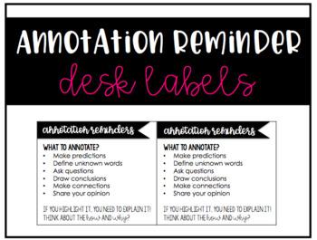 Annotation Reminder Desk Labels