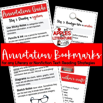 BTS Annotation Bookmarks for any Literary or Nonfiction Text: Reading Strategies