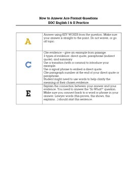 How to Answer ACE Format Questions: EOC English I & II Practice
