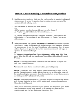 How to Answer Comprehension Questions