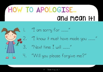 How to Apologise/Apologize and Forgive Posters/Cards