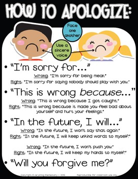 How to Apologize and Say Sorry Poster - Responsive Classroom Character Education
