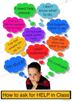 How to Ask for Help in Class Classroom Poster