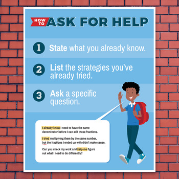 How to Ask for Help in Math Class: Poster