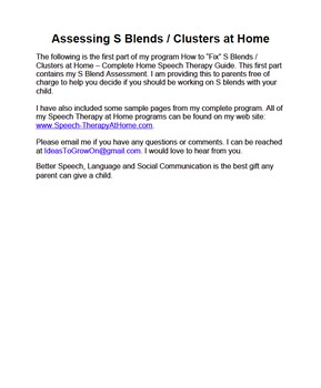 Free: How to Assess S Blends and Clusters at Home.  Speech Therapy at Home.