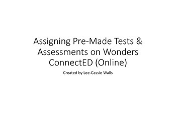 How to Assign Tests in Wonders ConnectED